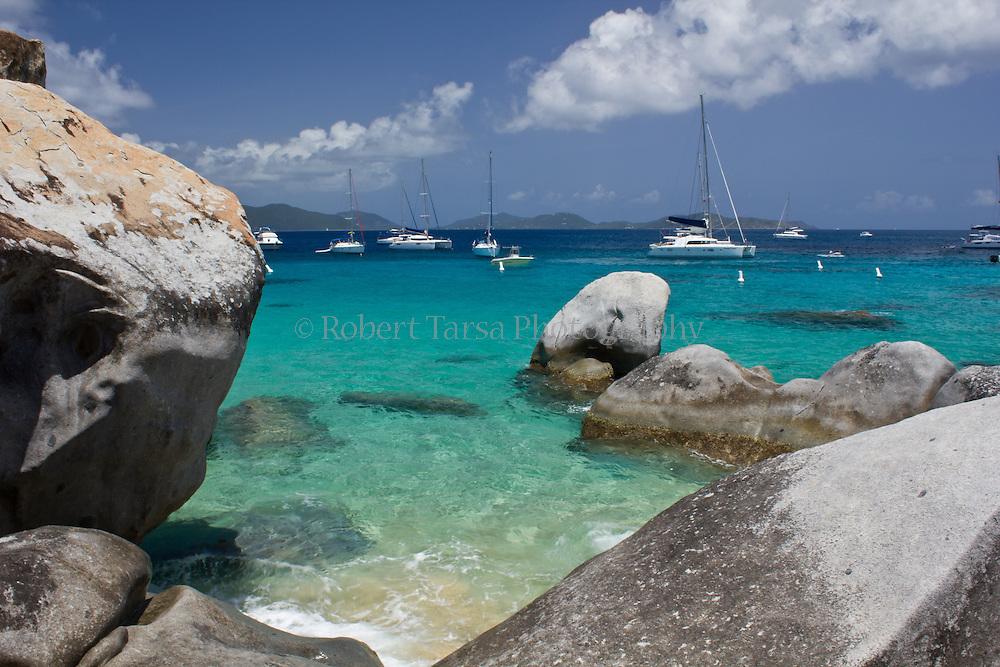 Sailboat moored at the Baths, Virgin Gorda British Virgin Islands