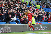 Middlesbrough FC striker Christian Stuani celebrates the 3rd goal during the Sky Bet Championship match between Brighton and Hove Albion and Middlesbrough at the American Express Community Stadium, Brighton and Hove, England on 19 December 2015. Photo by Phil Duncan.