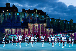 Edinburgh, Scotland, UK. 5 August, 2019.  The Royal Edinburgh Military Tattoo forms part of the Edinburgh International festival. Pictured; The Lochiel Marching Drill Team in an Antartica themed set with fake snow.
