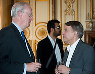 """Armand De Decker and Salvatore Adamo attends at the ceremony who Michel Drucker was awarded at  the title of Commander of the Order of the Crowne at the Palace Egmont"""" at Brussels, 2014 in Brussels, Belgium."""