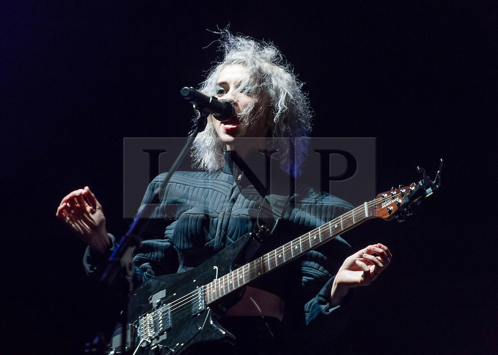 "© Licensed to London News Pictures. 29/05/2014. Barcelona, Spain.   St Vincent performing live at Primavera Sound Festival .   In this picture - Anne Erin ""Annie"" Clark better.  Anne, known by her stage name St. Vincent, is an American musician, singer-songwriter, and multi-instrumentalist. She began her music career as a member of The Polyphonic Spree and was also part of Sufjan Stevens' touring band before forming her own band in 2006.   Primavera Sound, or simply Primavera, is an annual music festival that takes place in Barcelona, Spain in late May/June within the Parc del Fòrum leisure site. Photo credit : Richard Isaac/LNP"