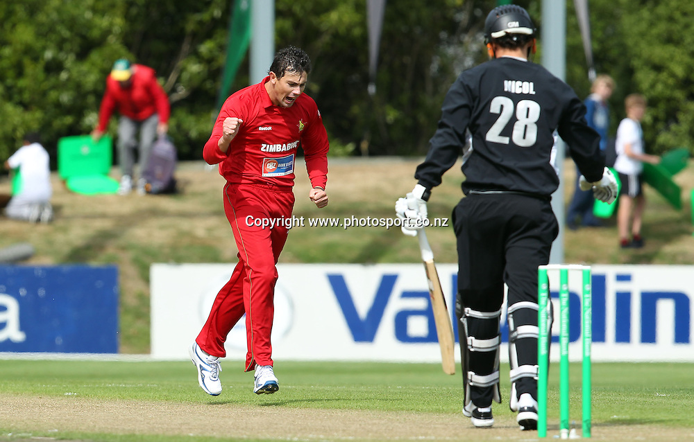 Keegan Meth celebrates taking the wicket of Rob Nicol.<br /> New Zealand v Zimbabwe, 1st ODI, 3 February 2012, University Oval, Dunedin, New Zealand.<br /> Photo: Rob Jefferies/PHOTOSPORT