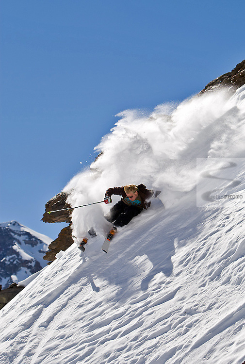 US Ski Team Athletes Ted Ligety, Jake Zamansky, and Tommy Ford do some freeskiing for the cameras of NBC and Selko Photo on their day off from training at Portillo, Chile on September 23, 2009. The cinamaphotographer is Tom Day and his assistant is Pancho.