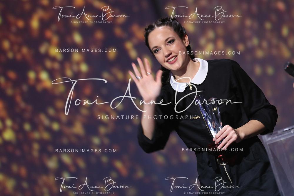 """PARIS, FRANCE - FEBRUARY 10:  Jain receives Award during the """"32nd Victoires de la Musique 2017"""" at Le Zenith on February 10, 2017 in Paris, France.  (Photo by Tony Barson/FilmMagic)"""