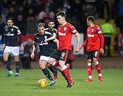 24th November 2017, Dens Park, Dundee, Scotland; Scottish Premier League football, Dundee versus Rangers; Rangers' Ryan Jack and Dundee's Paul McGowan