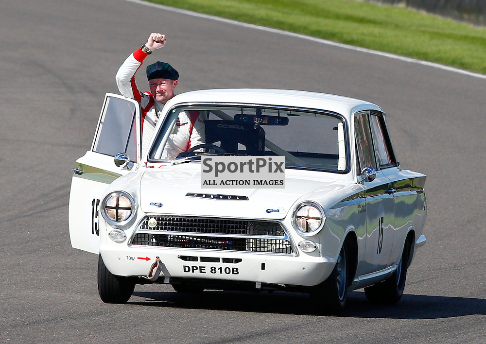 GOODWOOD REVIVAL.....Gordon Sheddon celebrates his second place in the St.Mary's Trophy race ..(c) STEPHEN LAWSON | SportPix.org.uk