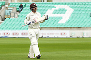 Rory Burns of Surrey County Cricket Club after being dismissed during the LV County Championship Div Two match at the Kia Oval, London<br /> Picture by Mark Chappell/Focus Images Ltd +44 77927 63340<br /> 26/04/2015
