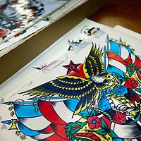 Nederland, Amsterdam , 27 oktober 2011..Tattoo tekeningen uit het  Tattoo Museum van Henk Schiffmacher op de Plantage Middenlaan nr 62..Amsterdam Tattoo Museum and the most famous Dutch tattoo-artist Henk Schiffmacher with his historical materials.