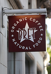 A logo for Pret A Manger on a branch near Oxford Street, London. Picture dated: Thursday September 13, 2018. Photo credit should read: Isabel Infantes / EMPICS Entertainment.