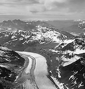 Aerial view of the Kahiltna Glacier and the Alaska Range on a sightseeing flight from Talkeetna, Alaska.