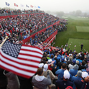 Ryder Cup 2016. Day One. Rickie Fowler of the United States salutes the crowd as he prepares to tee off at the first hole in the Friday morning foursomes during the Ryder Cup competition at the Hazeltine National Golf Club on September 30, 2016 in Chaska, Minnesota.  (Photo by Tim Clayton/Corbis via Getty Images)