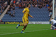 Ross McCormack celebrates making the score 1-0 during the Sky Bet Championship match between Preston North End and Fulham at Deepdale, Preston, England on 5 April 2016. Photo by Pete Burns.