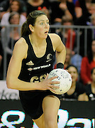 Irene Van Dyk in action, during New World Netball Series, New Zealand Silver Ferns v England at The ILT Velodrome, Invercargill, New Zealand. Thursday 6 October 2011 . Photo: Richard Hood photosport.co.nz