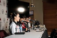 KELOWNA, BC - OCTOBER 26: Ladies silver medalist Rika Khira of Japan speaks to media during a press conference at Prospera Place on October 25, 2019 in Kelowna, Canada. (Photo by Marissa Baecker/Shoot the Breeze)