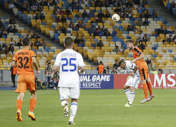 September 14, 2017 - Kiev, Ukraine - Dynamo's Marko Radas vies Junior Moraes of Skenderbeu during the UEFA Europa League Group B football match between FC Dynamo Kiev and KF Skenderbeu at the Olimpiyskyi Stadium in Kiev on September 14, 2017. (Credit Image: © Sergii Kharchenko/NurPhoto via ZUMA Press)