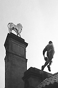 London, Great Britain,   The Golden Lion overlooking &quot; Lion Gate. 2015 Rugby World Cup Final. New Zealand vs Australia,, Twickenham Stadium,London. England,, Saturday  31/10/2015. <br /> [Mandatory Credit; Peter Spurrier/Intersport-images] Black and White Film, Kodak Tri-X [rated 320 ASA], Camera Contax G2 with Ziess 28mm f2.0.