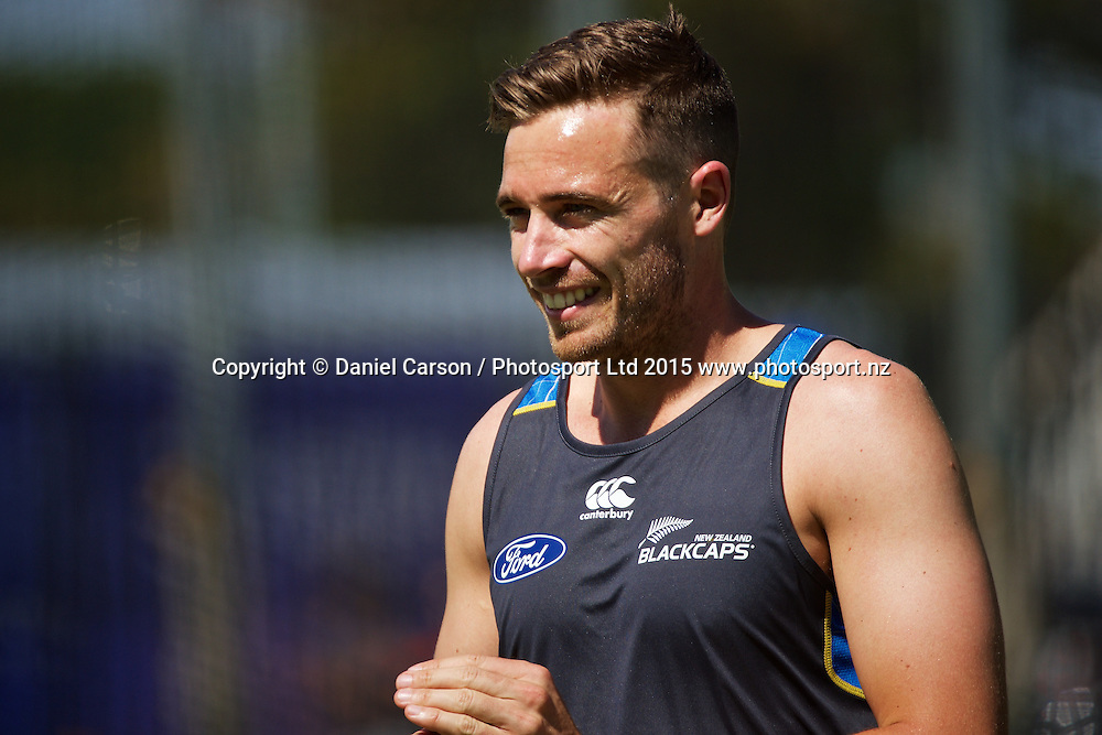 Tim Southee of the New Zealand Black Caps smiles during the training session on the 12th of November 2015. The New Zealand Black Caps tour of Australia, 2nd test at the WACA ground in Perth, 13 - 17th of November 2015.   Photo: Daniel Carson / www.photosport.nz