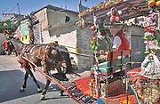 Palermo, quartiere Borgo vecchio, periferia degradata nel cuore della citt&agrave;, un carretto siciliano attraversa le vie del quartiere.<br /> Palermo: &quot;Borgo Vecchio district&quot; deprived suburb within the heart of the city, a Sicilian cart passing by