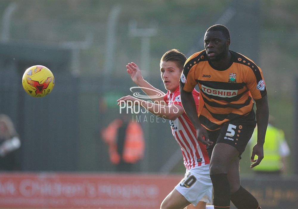 Barnet defender Bondz N'Gala and Exeter striker Tom Nichols compete for a high ball during the Sky Bet League 2 match between Barnet and Exeter City at The Hive Stadium, London, England on 31 October 2015. Photo by Bennett Dean.