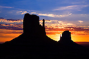 The Mittens at sunrise. Monument Valley, Arizona.