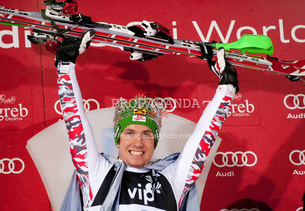 "05.01.2012, Crveni Spust, Sljeme, CRO, FIS Weltcup Ski Alpin, Zagreb, Herren Slalom Podium, im Bild Winner and ""Snow King 2012"" HIRSCHER Marcel (AUT) celebrates at flower and trophy ceremony // on podium // during men Slalom race of FIS Ski Alpine World Cup at 'Crveni Spust' course in Sljeme, Zagreb, Croatia on 2012/01/05. EXPA Pictures © 2012, PhotoCredit: EXPA/ Sportida/ Vid Ponikvar..***** ATTENTION - OUT OF SLO *****"
