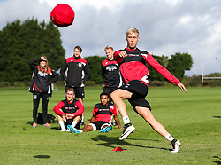 Hordur Magnusson in action as Bristol City play Football Darts from Bristol Bubble Ball Ltd after training - Rogan Thomson/JMP - 30/09/2016 - FOOTBALL - Failand Training Ground - Bristol, England.