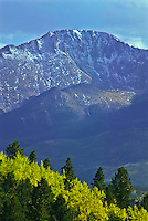 America's Mountain.  14,110 ft. Pikes Peak as viewed from along the Rampart Range Road during the autumn season.  Colorado.