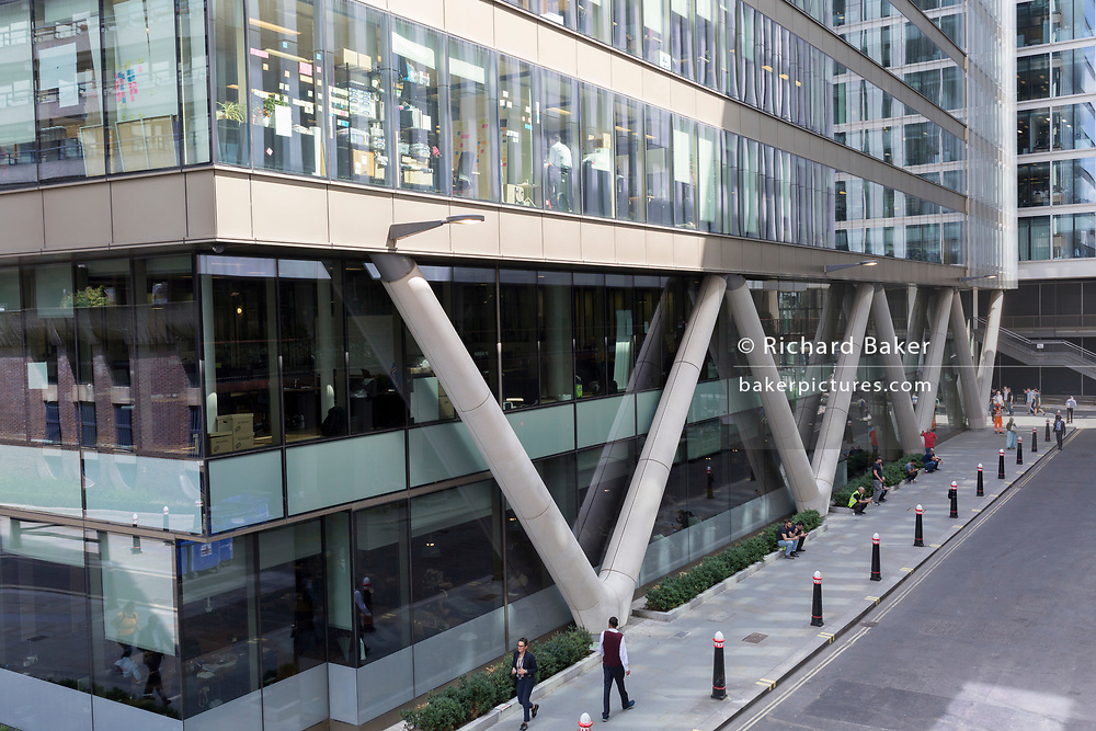 New office architecture on Fore Street in the City of London - the capital's financial district, on 21st August 2018, in London, England.