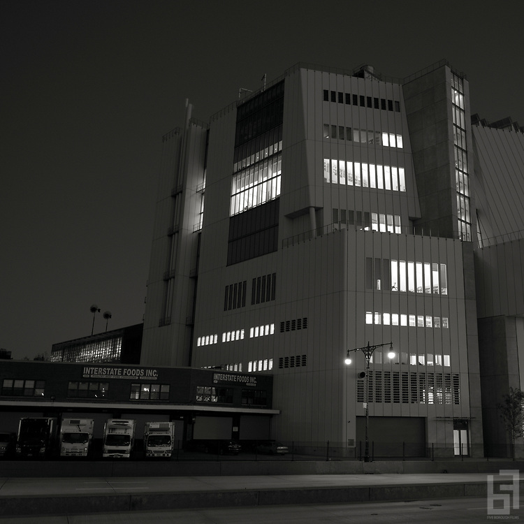 Architect Renzo Piano's New Whitney Museum of American Art as seen at night from the West Side Highway.