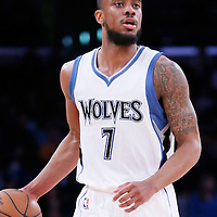 10 April 2014: Minnesota Timberwolves guard Lorenzo Brown (7) brings the ball up court during the Los Angeles Lakers 106-98 victory over the Minnesota Timberwolves, at the Staples Center, Los Angeles, California, USA.