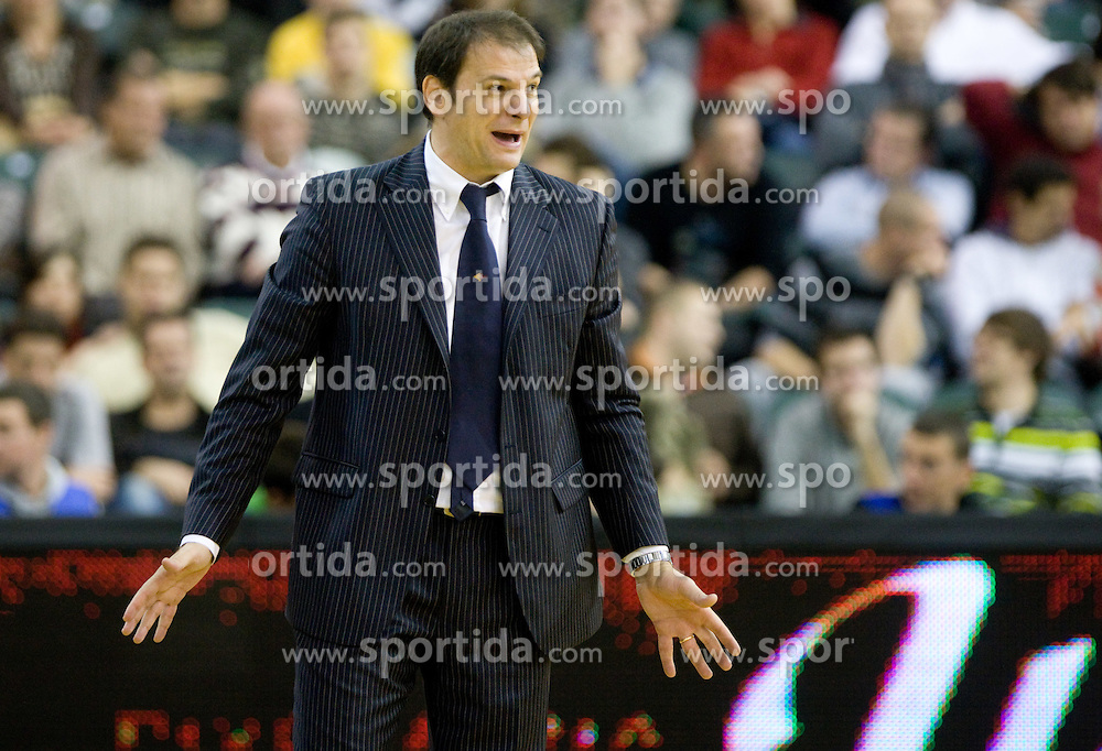 Head coach  of Lottomatica Ferdinando Gentile at Euroleague basketball match in 5th Round of Group C between KK Union Olimpija and Virtus Lottomatica Roma, on November 25, 2009, in Arena Tivoli, Ljubljana, Slovenia. Union Olimpija defeated Lottomatica 87-70. (Photo by Vid Ponikvar / Sportida)