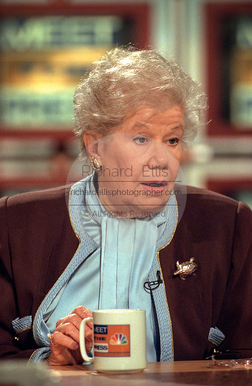 Washington Post columnist Mary McGrory during NBC's Meet the Press March 8, 1998 in Washington, DC.