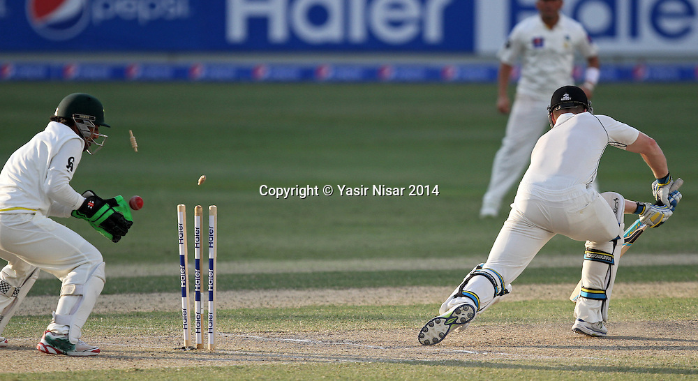 Pakistan vs New Zealand, 20 November 2014 <br /> Anderson is bowled on the forth day of second test in Dubai