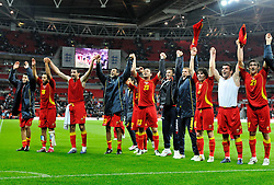 12.10.2010, Wembley Stadium, London, ENG, UEFA 2012 Qualifier, England vs Montenegro, im Bild Montenegro celebrate at the end of the game in front of there fans, EXPA Pictures © 2010, PhotoCredit: EXPA/ IPS/ Sean Ryan *** ATTENTION *** UK AND FRANCE OUT!