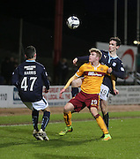Dundee's Alex Harris and Paul McGinn close down Motherwell's Chris Cadden -  Dundee v Motherwell, SPFL Premiership at Dens Park <br /> <br /> <br />  - &copy; David Young - www.davidyoungphoto.co.uk - email: davidyoungphoto@gmail.com