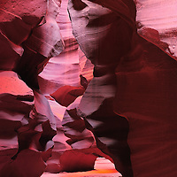 Upper Antelope Canyon showing the effects of wind and water on the sandstone.
