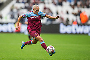 Adriana Leon (West Ham) with the ball during the FA Women's Super League match between West Ham United Women and Tottenham Hotspur Women at the London Stadium, London, England on 29 September 2019.