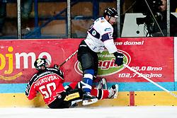 08.09.2013, Zimni Stadion, Zneim, CZE, EBEL, HC Orli Znojmo vs SAPA Fehervar AV19, 1. Runde, im Bild Richard Pavlikovsky (Znojmo #50) Andreas Benk (Fehervar #12) // during the Erste Bank Icehockey League 1st round match betweeen HC Orli Znojmo and SAPA Fehervar AV19 at the Zimni Stadium, Znojmo, Czech Republic on 2013/09/08. EXPA Pictures © 2013, PhotoCredit: EXPA/ Rostislav Pfeffer
