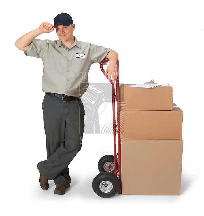 Delivery man with hand truck, isolated on a white background