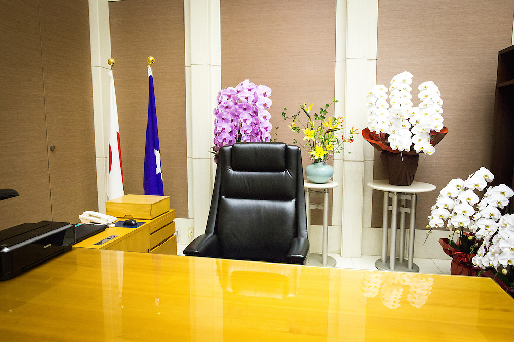 TOKYO, JAPAN - AUGUST 2 : Yuriko Koike's chair with flower is seen before she posed for the press on her first day of duty as a Tokyo Governor at Tokyo Metropolitan Government Building in Tokyo, Japan, on Tuesday, August 2, 2016. Yuriko Koike a Liberal Democratic Party lawmaker and former defense minister is the first women to be elected as a Governor of Tokyo. (Photo: Richard Atrero de Guzman/NURPhoto)