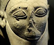 Heads of statues limestone 6th century BC. Influenced Egyptian and oriental Various localities, Cyprus