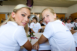 Snezana Rodic and Tina Sutej at press conference of team Slovenia at arrival at the end of European Athletics Championships Barcelona 2010 to Slovenia, on August 2, 2010 at Airport Joze Pucnik, Brnik, Slovenia. (Photo by Vid Ponikvar / Sportida)