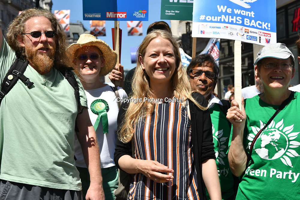 Sian Berry Mp of Green party march to Whitehall rally NHS at 70: Free, for all, forever on June 30th, 2018.