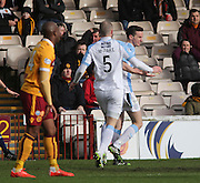 James McPake runs to congratulate Paul McGinn on his goal - Motherwell v Dundee, SPFL Premiership at Fir Park<br /> <br />  - &copy; David Young - www.davidyoungphoto.co.uk - email: davidyoungphoto@gmail.com