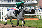 Bristol De Mai ridden by Darrel Jacob head for the start of the 2.50pm The Betway Bowl Steeple Chase (Grade 1) 3m 1f during the Grand National Festival Week at Aintree, Liverpool, United Kingdom on 4 April 2019.