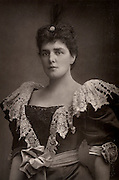 Lady Randolph Churchill (born Jennie Jerome - 1854-1921) American society beauty and mother of Winston Churchill who be came British Prime Minister.    From 'The Cabinet Portrait Gallery' (London, 1890-1894).  Woodburytype after photograph by W & D Downey.