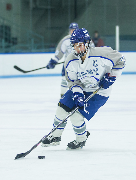 Carolyn Fuwa, of Colby College, in a NCAA Division III hockey game against Amherst College on January 10, 2015 in Waterville, ME. (Dustin Satloff/Colby College Athletics)