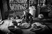 Myanmar. Woman sorting garlic in her home.
