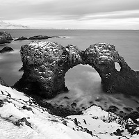 Gatklettur (Hole Rock)  in Snaefellsnes Peninsula in Iceland.