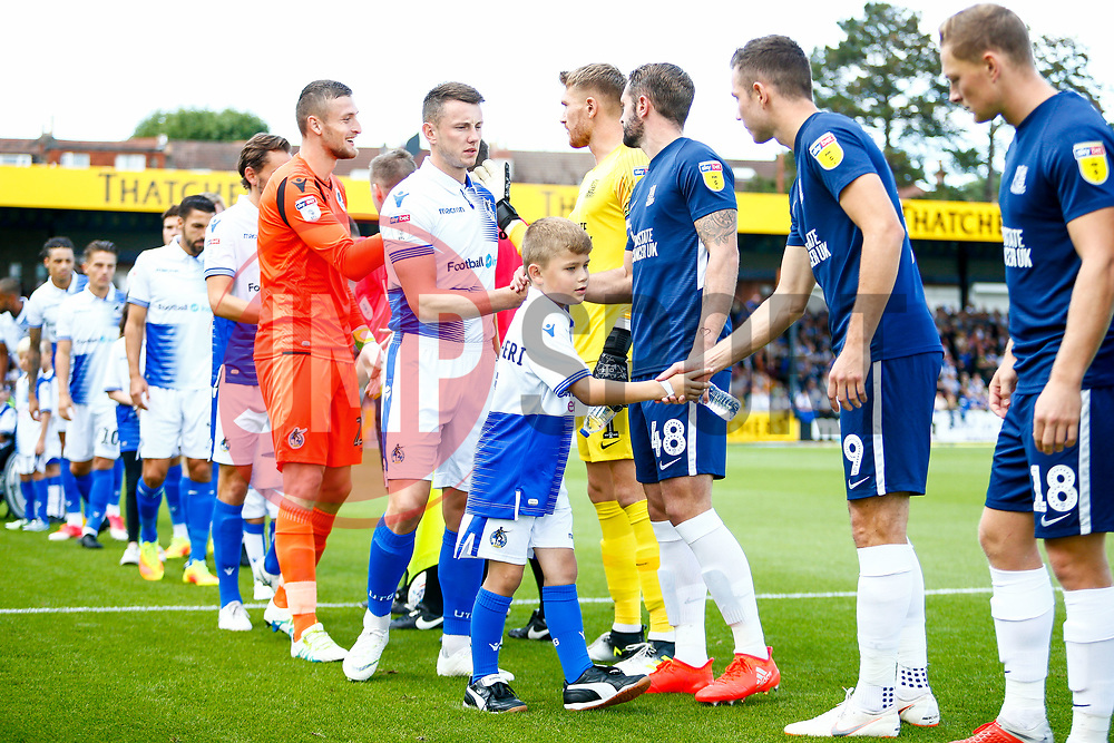 Child match mascots walk out with the team, pictured Ollie Clarke of Bristol Rovers with captain mascot - Mandatory by-line: Ryan Hiscott/JMP - 25/08/2018 - FOOTBALL - Memorial Stadium - Bristol, England - Bristol Rovers v Southend United - Sky Bet League One